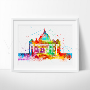 Vatican Skyline Watercolor Art Print Art Print - VIVIDEDITIONS