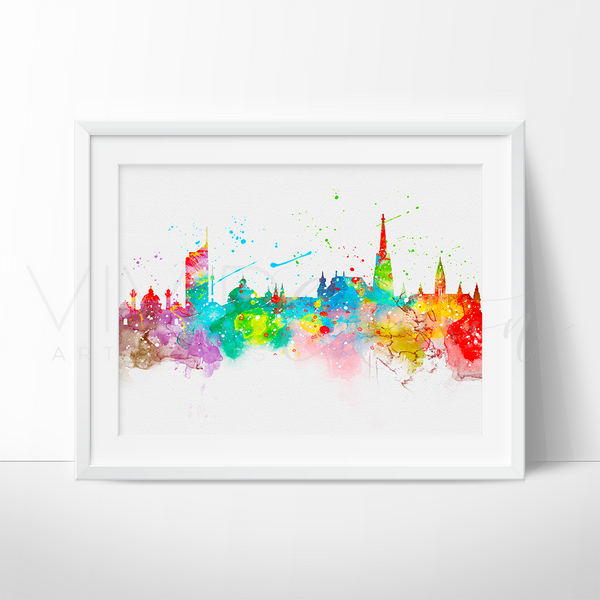 Vienna Skyline Watercolor Art Print Art Print - VIVIDEDITIONS