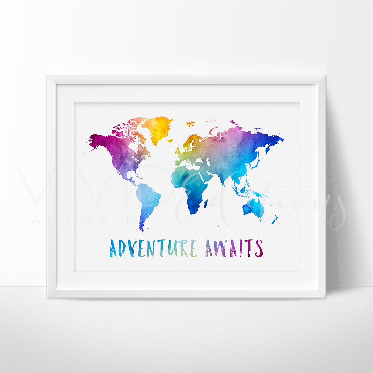 Adventure awaits travel quote world map watercolor art print adventure awaits travel quote world map watercolor art print art print vivideditions gumiabroncs Choice Image