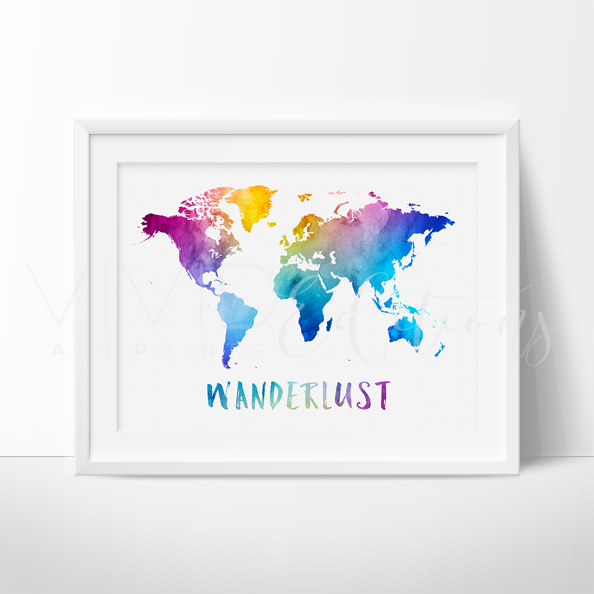 Wanderlust, Travel Quote World Map Watercolor Art Print Art Print - VIVIDEDITIONS