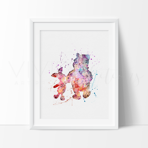 Winnie the Pooh & Piglet Watercolor Art Print Art Print - VIVIDEDITIONS