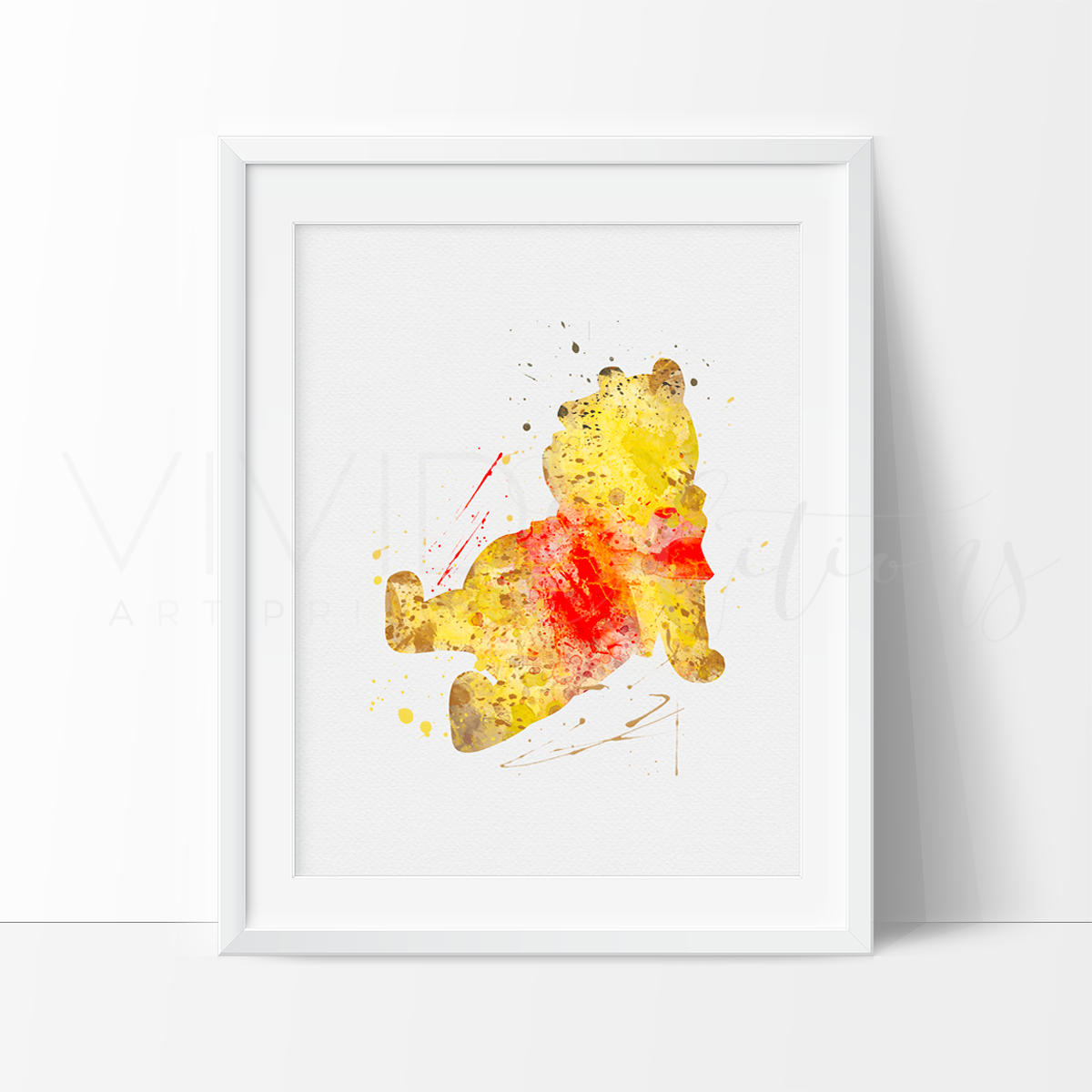 Winnie the Pooh Watercolor Art Print Art Print - VIVIDEDITIONS