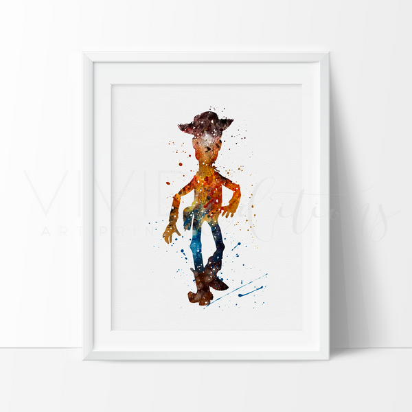 Woody, Toy Story Watercolor Art Print Art Print - VIVIDEDITIONS