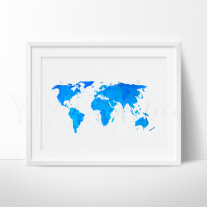 World Map, Blue Watercolor Art Print Art Print - VIVIDEDITIONS