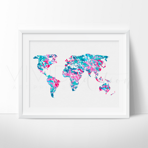 World Map 2 Watercolor Art Print Art Print - VIVIDEDITIONS