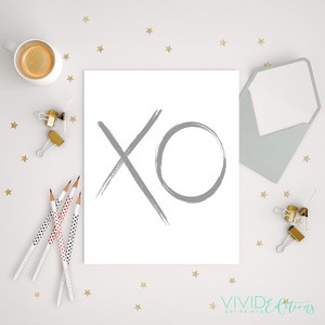 Gray XO Brushstroke Art Print - VIVIDEDITIONS