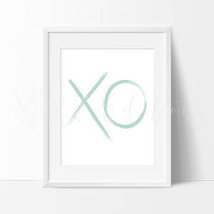 Mint XO Brushstroke Art Print - VIVIDEDITIONS