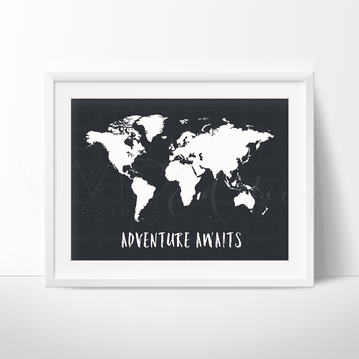 Adventure awaits world map nursery art wall decor print vivideditions adventure awaits world map black white art print vivideditions gumiabroncs Images