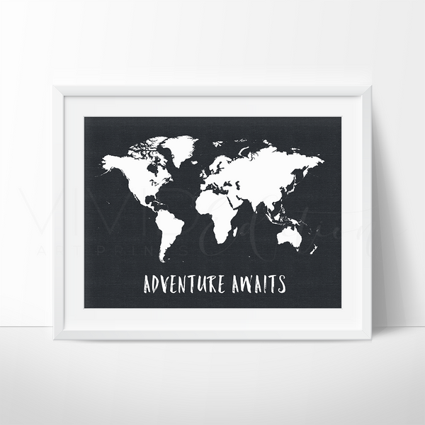 Adventure Awaits World Map, Black & White Art Print - VIVIDEDITIONS