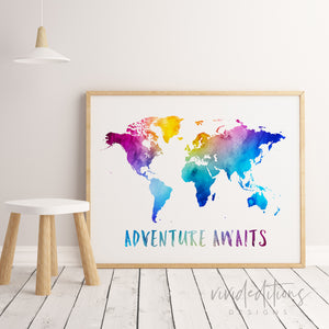 Adventure Awaits, Travel Quote World Map Watercolor Art Print Art Print - VIVIDEDITIONS