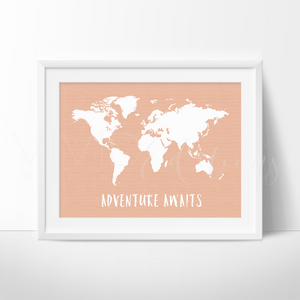 Adventure Awaits World Map, Peach Art Print - VIVIDEDITIONS