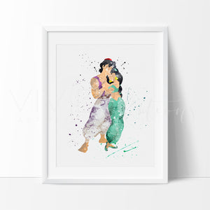 Aladdin and Princess Jasmine Disney Nursery Art Print Wall Decor