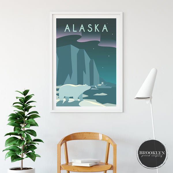 Alaska Landscape Art Travel Poster Art Print - VIVIDEDITIONS
