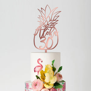 'Aloha 30' Pineapple Birthday Cake Topper, Acrylic or Wood Art Print - VIVIDEDITIONS
