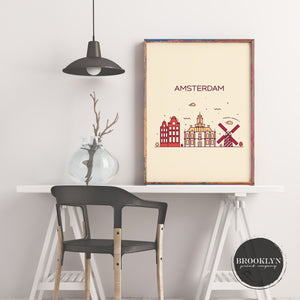 Amsterdam Skyline Travel Poster Art Print - VIVIDEDITIONS