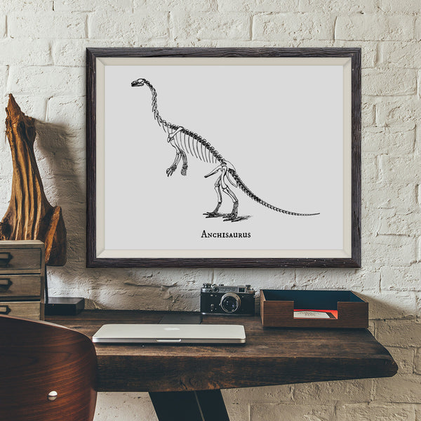 Anchisaurus Vintage Dinosaur Illustration Art Print - VIVIDEDITIONS