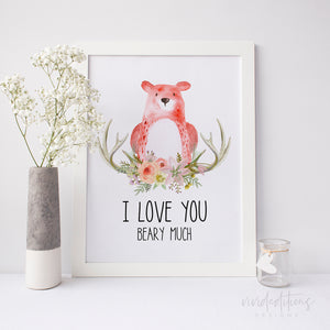 I Love You Beary Much Watercolor Art Print Art Print - VIVIDEDITIONS