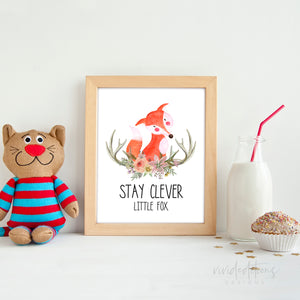 animal nursery fox art print