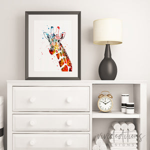 Giraffe Watercolor Art Print Art Print - VIVIDEDITIONS