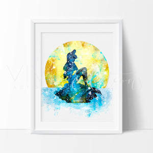 Ariel, Little Mermaid 5 Watercolor Art Print Art Print - VIVIDEDITIONS
