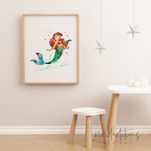 Ariel, Little Mermaid 3 Watercolor Art Print Art Print - VIVIDEDITIONS