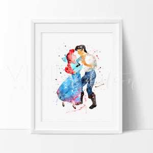 Ariel & Prince Eric, Little Mermaid Watercolor Art Print Art Print - VIVIDEDITIONS