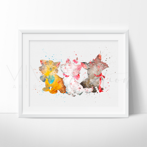 Aristocats Watercolor Art Print Art Print - VIVIDEDITIONS