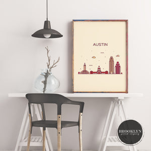 Austin Skyline Travel Poster Art Print - VIVIDEDITIONS