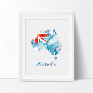 Map of Australia 2 Watercolor Art Print Art Print - VIVIDEDITIONS