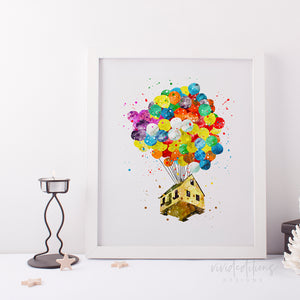 up balloon house nursery art print