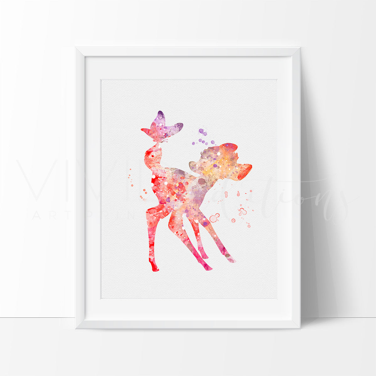 Bambi 2 Watercolor Art Print Art Print - VIVIDEDITIONS