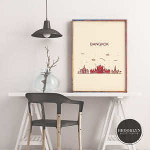 Bangkok Skyline Travel Poster Art Print - VIVIDEDITIONS