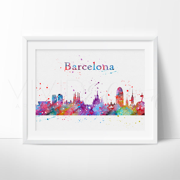 Barcelona Skyline Watercolor Art Print Art Print - VIVIDEDITIONS