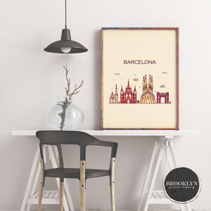 Barcelona Skyline Travel Poster Art Print - VIVIDEDITIONS
