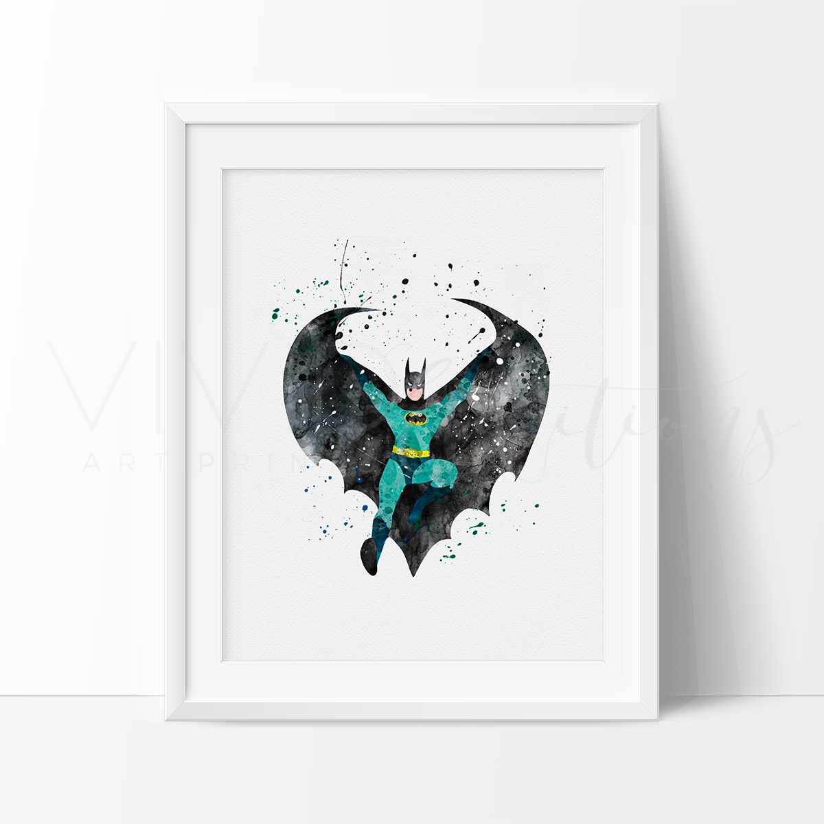 Batman Watercolor Art Print Art Print - VIVIDEDITIONS