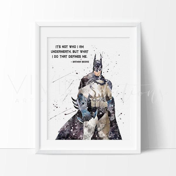 Batman Begins Quote Watercolor Art Print Art Print - VIVIDEDITIONS