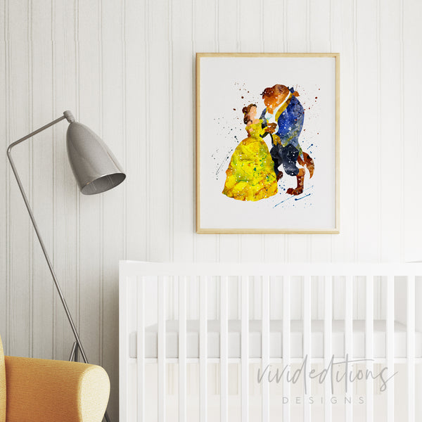 Beauty and the Beast 3 Watercolor Art Print Art Print - VIVIDEDITIONS