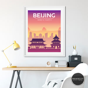 Beijing City Skyline Art Travel Poster Art Print - VIVIDEDITIONS