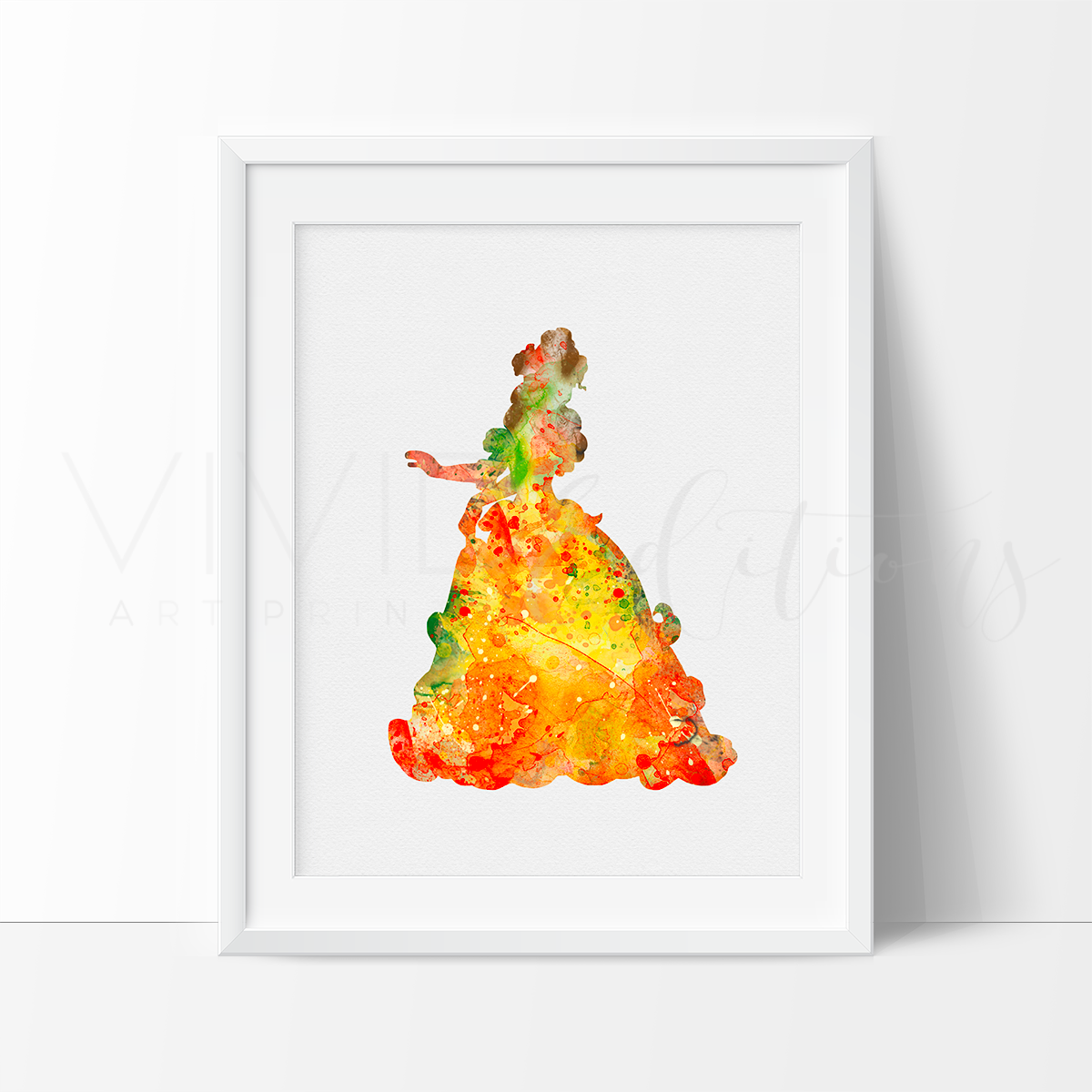 Belle 2, Beauty and the Beast Watercolor Art Print Art Print - VIVIDEDITIONS