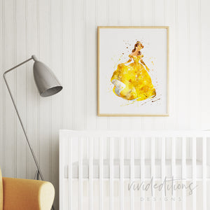 Belle 5, Beauty and the Beast Watercolor Art Print Art Print - VIVIDEDITIONS