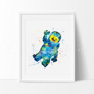 Benny, Lego Man Watercolor Art Print Art Print - VIVIDEDITIONS