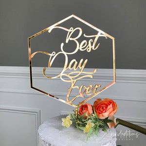 Best Day Ever Wedding Cake Topper, Acrylic or Wood Art Print - VIVIDEDITIONS
