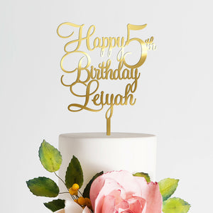 Personalized Name + Age Birthday Cake Topper Art Print - VIVIDEDITIONS