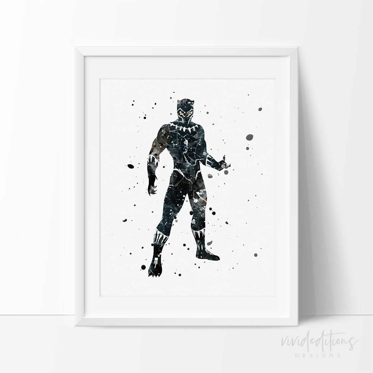 Black Panther Watercolor Art Print Poster Art Print - VIVIDEDITIONS