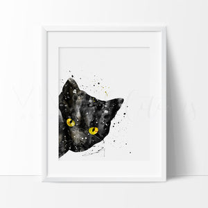 Black Cat Peek-A-Boo Art Print - VIVIDEDITIONS