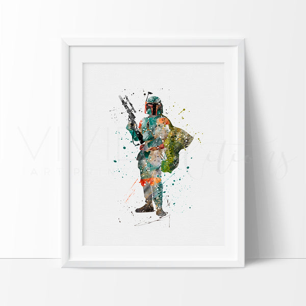 Boba Fett Watercolor Art Print Art Print - VIVIDEDITIONS