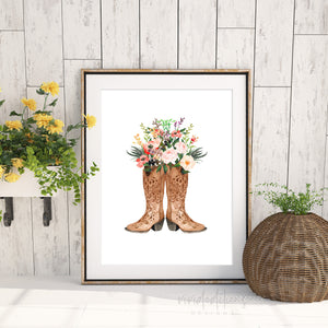 Floral Cowgirl Boots, Boho Art Art Print - VIVIDEDITIONS