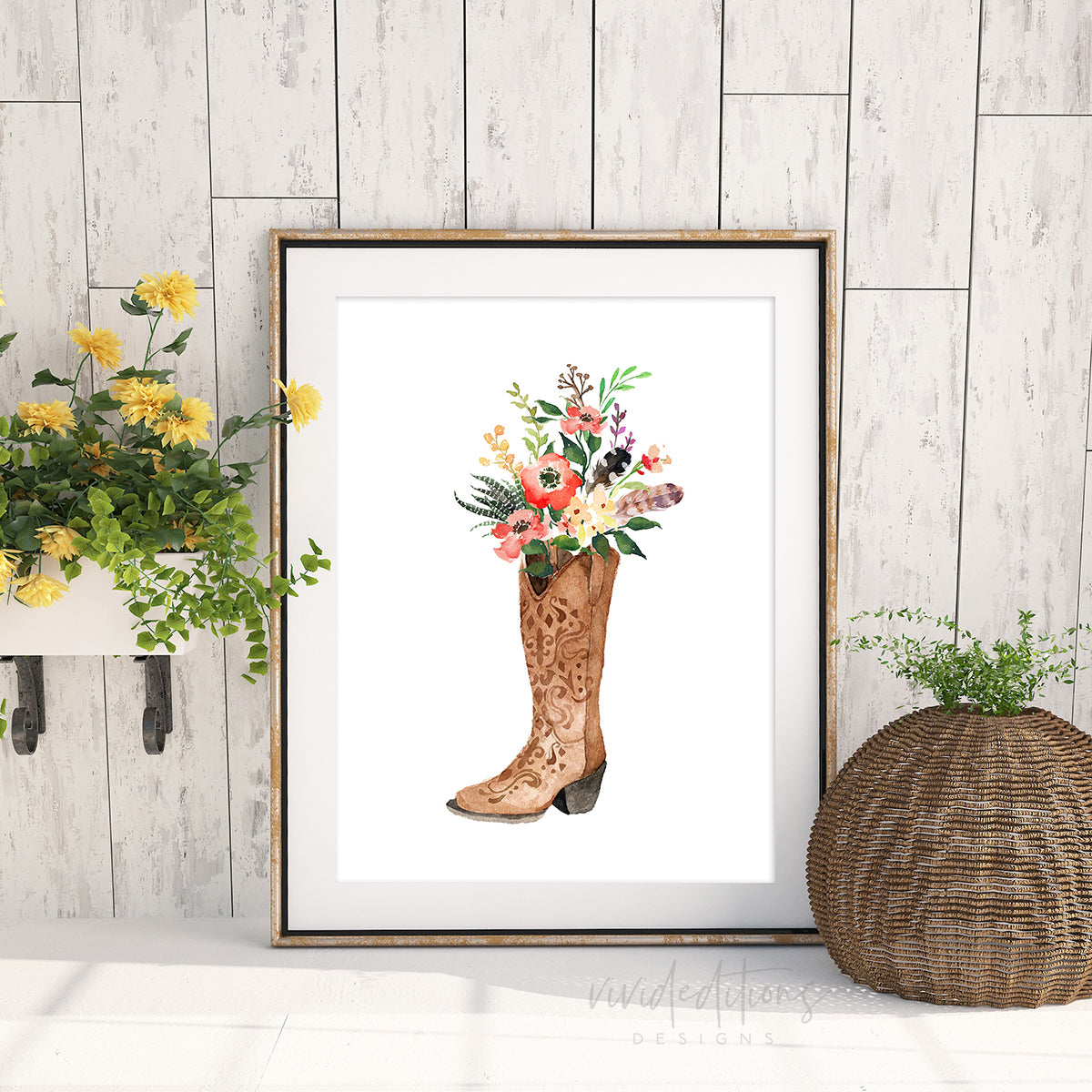 Floral Cowgirl Boot, Boho Art Art Print - VIVIDEDITIONS