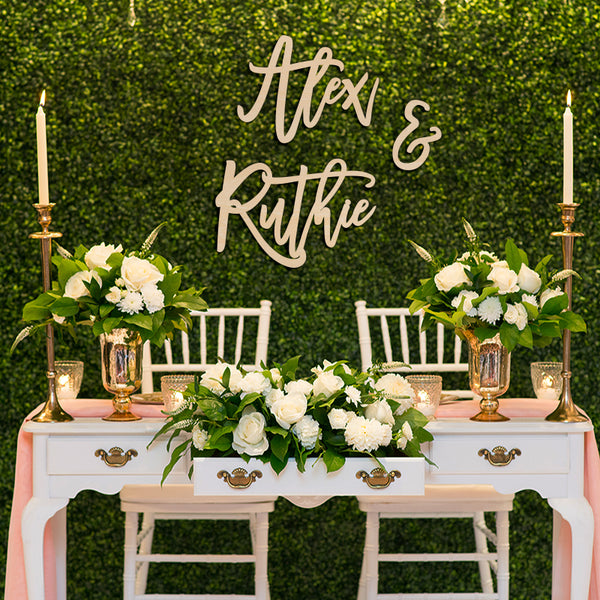 Bride & Groom Name Backdrop Sign 3pc Set, Acrylic or Wood Art Print - VIVIDEDITIONS
