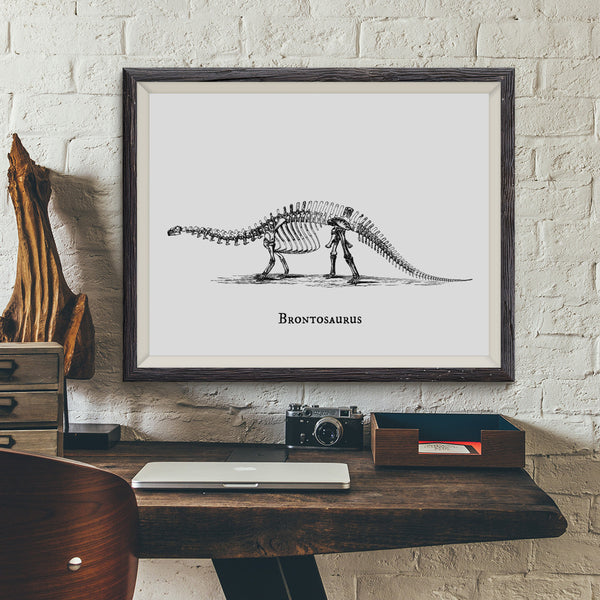 Brontosaurus Vintage Dinosaur Illustration Art Print - VIVIDEDITIONS